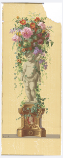 Statue of an infant, standing on vine-covered pedestal with burgundy cameo in base. Putti is facing left, supporting a basket of vining flowers. Gold highlights. Printed on a woodgrain background.