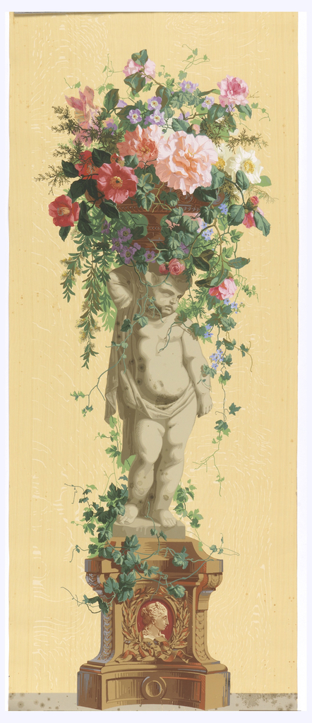 Statue of an infant, standing on vine-covered pedestal with a burgundy cameo in the base. Putti is facing right, supporting a basket of vining flowers. Printed on a woodgrain background.