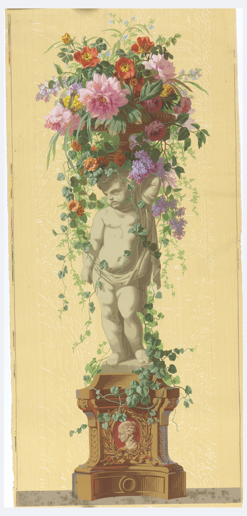Statue of an infant standing on a vine-covered pedestal with a burgundy cameo in base. Putti faces left, supporting a basket of flowers. Printed on a woodgrained background.