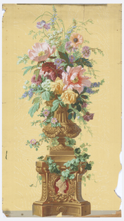 Urn with vining flowers, perched on vine-covered pedestal. Burgundy cameo. Printed on wood grained ground.