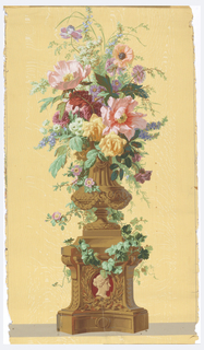 Urn with flowers sitting on vine-covered pedestal. Printed on woodgrain ground.