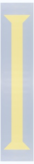 Large-scale yellow stylized column printed on light blue ground. The height of the motif is 210 cm.