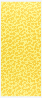 All-over pattern of closely spaced orange patches printed on a yellow ground.