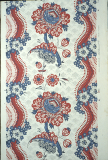 "A reproduction of a French toile of the late 18th century. A large flower with leaf and small sprays suggestive of floral designs on prints from India is the center drop repeat. The field is covered in a small design in picotage. A serpentine ribbon with a lace effect in center runs along both margins with a floral chain twined around. Printed in margin: ""A.L. Diament"". Printed in red and blue on putty-gray ground."