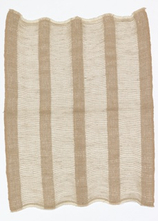 Hand-woven sample for a casement fabric in uneven vertical stripes of white and tan with silver metallic effects.  The weft is of undyed linen throughout.  The white stripes have a white cotton warp; the weft alternates a single yarn with a group of three, interlaced in gauze weave.  The darker stripes have tan cotton warps alternating with silver-colored metallic strips; the wefts are handled singly and interlaced in plain weave.