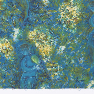 Rich impressionistic pattern with illusion of heavy brushstrokes, of a woman in amid foliage, in white, yellow, and green on a midnight blue ground.