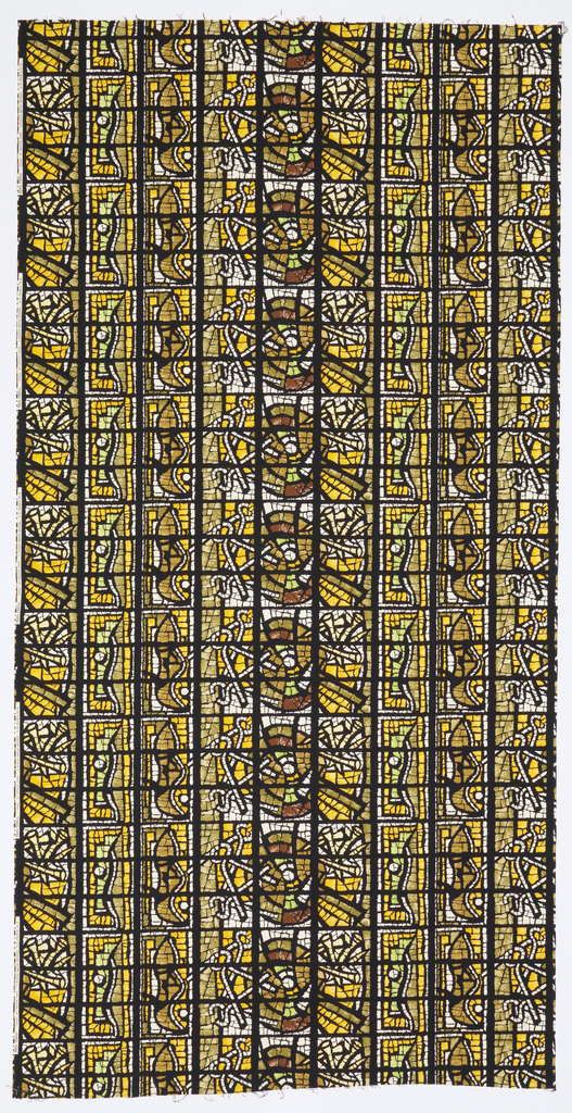 Length of printed cotton resembling a stained glass window, with a repeating design of pincers and nails, two of the Instruments of Christ's Passion. In golden yellow, green-yellow, greens, browns and white, within a grid-like black framework.