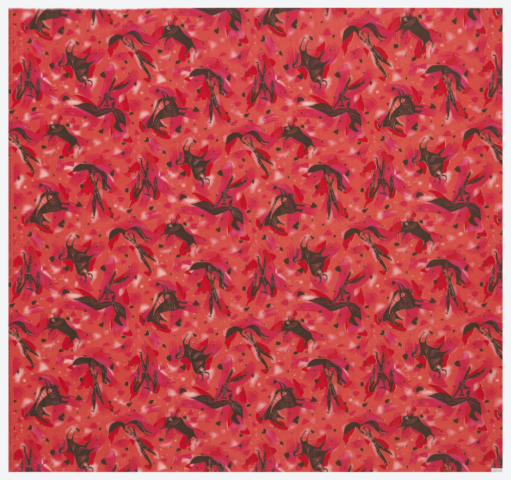 Design of black bulls on a red ground. Part of the Modern Master Original series.