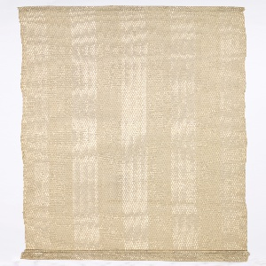 Hand-woven drapery fabric with broad vertical stripes in matte and shiny yarns in natural tones.  The warp is of beige cotton, the weft alternates one beige boucle yarn and two off-white plastic threads.  The darker stripes are of plain weave with paired warps; the lighter stripes are twill weave.