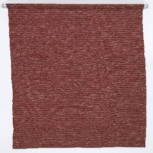 Sample length of a drapery fabric, never produced.  The warp is of orange-red cotton, the weft is of black cotton paired with a very uneven white silk yarn.  The irregularities in the yarn and the manipulation of the black and white yarns in each shed give the effect of a subtly variegated surface.