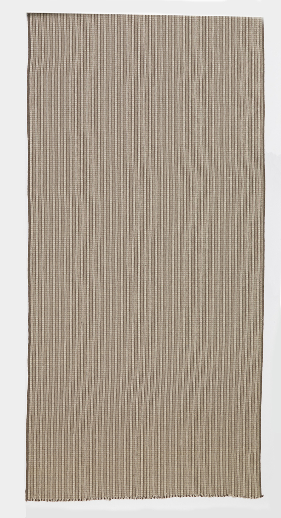 Hand-woven drapery material with a vertical stripe in shades of brown and tan.  The warp is of multiple colors and weights of yarn, including heavy brown cotton, tan cotton, white rayon, and white cotton.