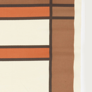 Geometric design in brown and orange on off-white ground. Five colorways attached. From the Taliesin line.