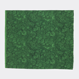 Length of printed cotton with design imitating malachite tiles in black and dark green on a bright green dyed ground.