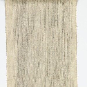 Length of woven wool with fine vertical stripes of pale gray on an off-white ground.