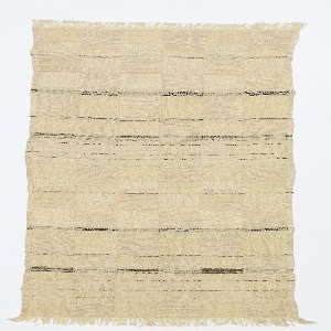Length of woven fabric with a large-scale checkerboard in off-white, with some black warps forming fine irregular horizontal stripes. One layer of the double cloth is woven with over-twisted yarns, giving puckered effects.