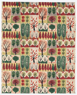 Length of printed so-called 'bark cloth' with a grid of highly stylized trees in black, gray, greens, yellow, reds and pink.