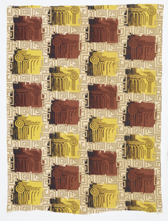 Length of printed cotton with an all-over design of greek key ornament in tan on an off-white ground, with alternating squares of brown and yellow overprinted with an abstracted columm capital in shades of brown.