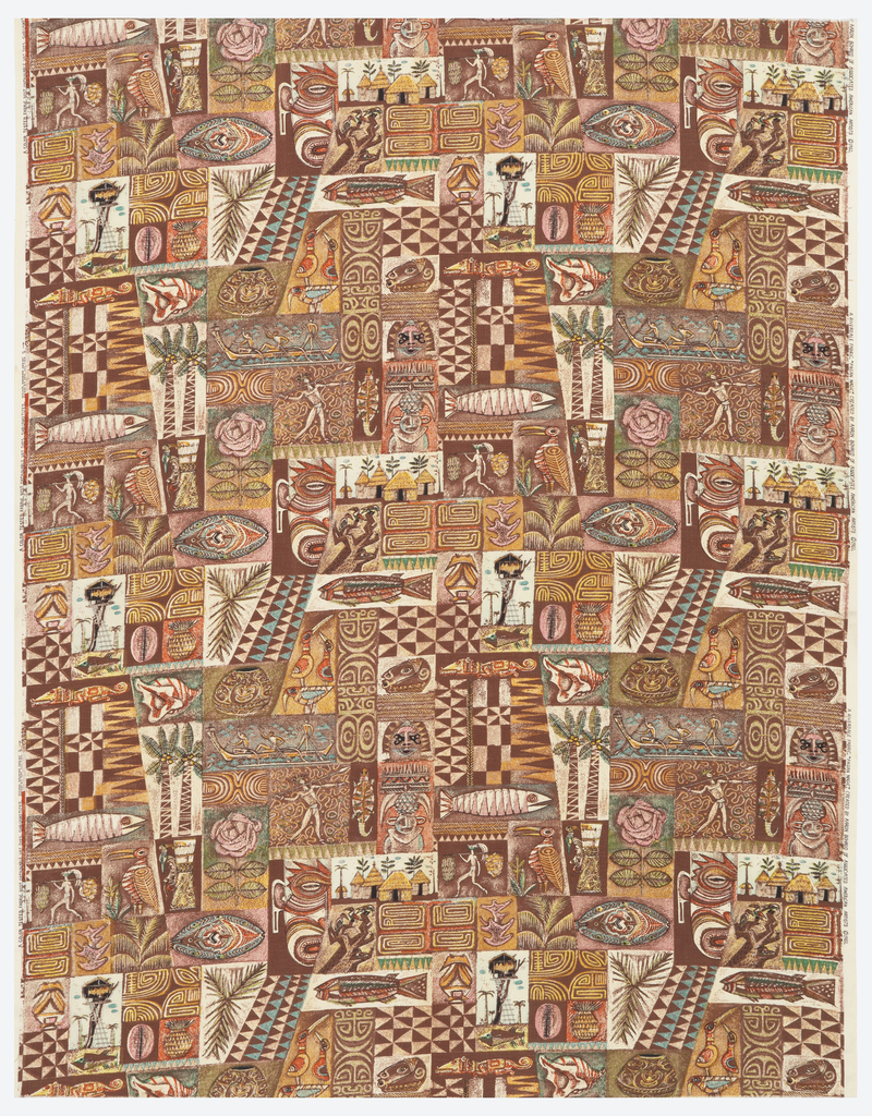 Legth of printed cotton with an irregular grid of Polynesian motifs including a tree house and a group of thatched-roof huts; palm trees; seashells, turtles, fish, birds and lizards; an archer; three men in a canoe; a man carrying bunches of fruit; masks; and a variety of patterns similar to those used on tapa (beaten bark cloth), in shades of brown, light blue, pink and yellow on an off-white ground.