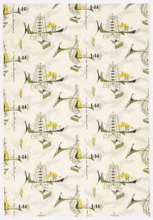 Length of printed cotton with abstract forms resembling musical insturments and notation, in black, gray, olive-green and yellow on a white ground.