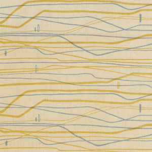 Length of printed fabric with an abstract design of undulating horizontal lines of blue and gold on a beige ground.
