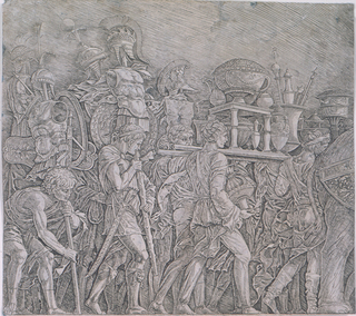 A triumphal procession of Roman soldiers carrying trophies. The spoils, including armor, furniture, drinking vessels, and other objects made of precious metals are loaded onto stretchers, pole, and spears. The figures are depicted walking left-to-right, as on Roman and Greek architectural reliefs.