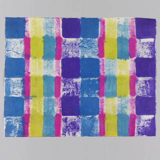 Plaid pattern in chartreuse, purple, blue and pink.