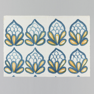 Lotus blossoms printed in two rows of four across. Printed in blue and orange on white paper.