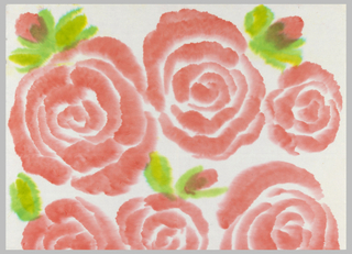 Large-scale roses and rose buds. Printed in bright pink and green on white paper.