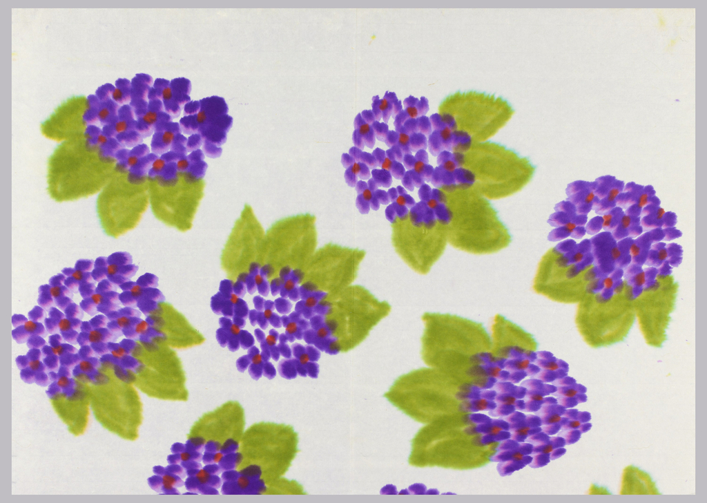 Large-scale flowers containing purple petals with red centers. Each cluster also contains green foliage. On white paper.