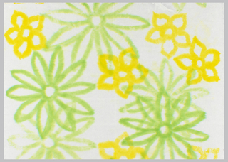 Large-scale green flowers with smaller yellow flowers. On white paper.