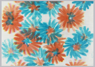 Red and blue flowers on white paper.