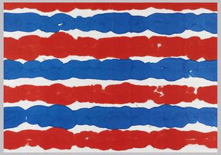Stripe in red and blue on white paper.