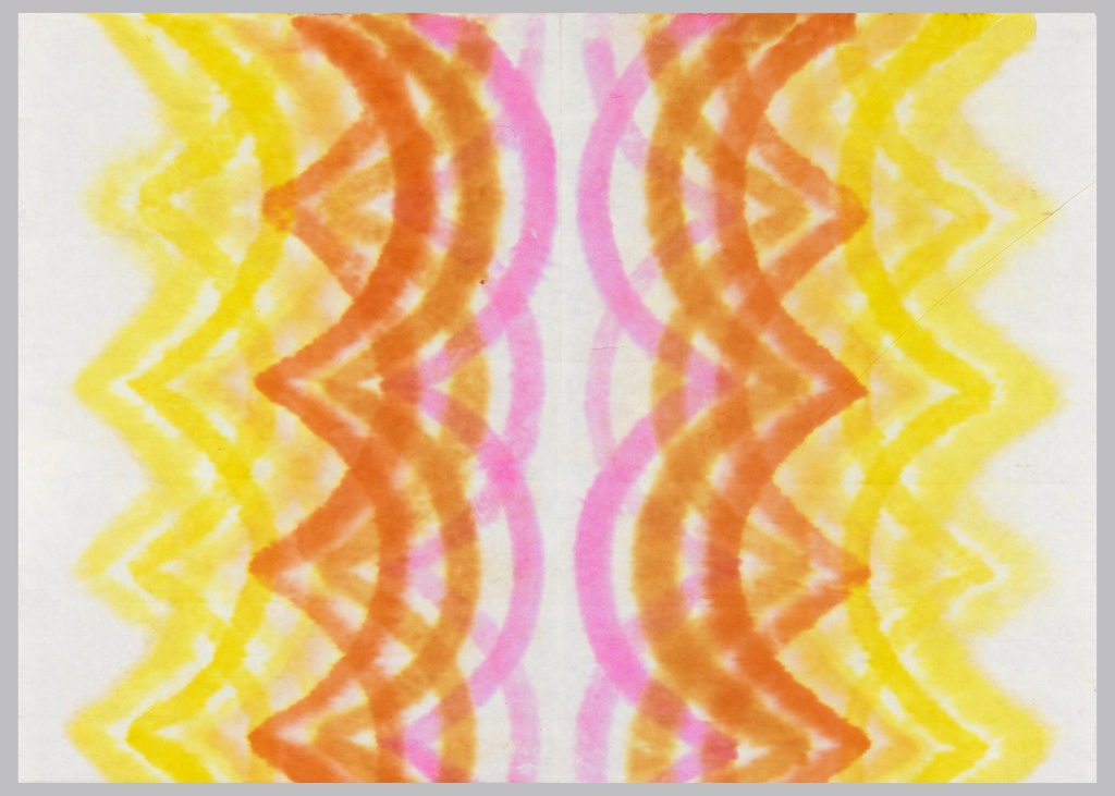 Scalloped stripe design in pink, two shades of orange, and yellow.