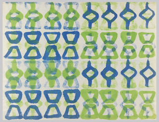 Green and blue symbols running in horizontal rows. On white paper.
