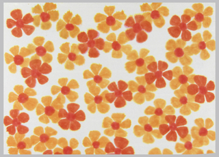 Red and orange flowers, each containing five petals. The orange blossoms have red centers. On white paper.