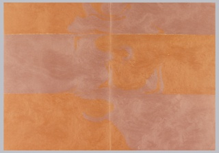 Orange and mauve molded paper. Design divided into six grids.