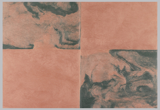 Green and pink molded paper. Design divided into four sections. The green sections are marbled.