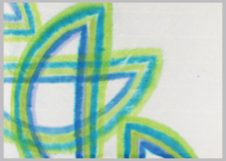 Overlapping half circles in shades of blue and green on white paper.