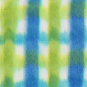Plaid pattern in shades of blue and green on white paper.