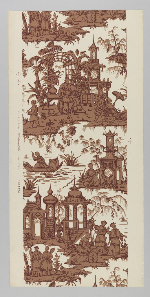 "A chinoiserie design reproduced from an old Zuber, French wallpaper of the late 18th century. Composed of two different motifs in a drop repeat and both are garden fantasies. One motif is of a Chinese lady reading in her garden with her attendants. Summer houses and trellised arbor in background. The second motif consists of men serving food from pot, while another man is ringing gong, and another catching fish in a net. Garden architecture in background. Printed on margin: ""Phila. A.L. Diament, N.Y. Pagoda""."
