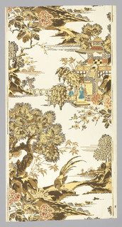 Chinese figured paper. A large pheasant beneath a pine tree with a small lake and houses in the distance occupies one width. Above, and below, three maidens linger in a court at the foot of some steps leading up to a tea house. What appears to be another lake with buildings on the opposite shore stretches away at their left. Drop match. Printed in gold, brown, salmon, red, blue on cream ground.