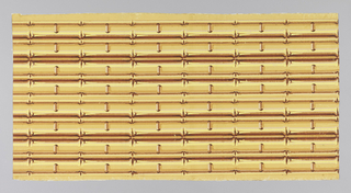 "Yellow bamboo shaded with brown. A series of coupled strips connected to one another at right angles by smaller widely spaced bamboo strips. Two complete borders to the width. Excise stamp on back has legend encircling crown: ""First Account Taken - 313 (?)"""