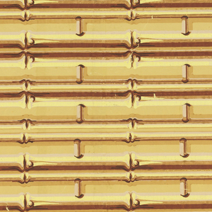 """Yellow bamboo shaded with brown. A series of coupled strips connected to one another at right angles by smaller widely spaced bamboo strips. Two complete borders to the width. Excise stamp on back has legend encircling crown: """"First Account Taken - 313 (?)"""""""