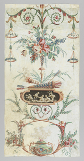 """Arabesque design with at top a bouquet of roses and other flowers. Below this is a medallion in brown tones showing cupids at play, atop which are quiver and arrows in a torch, crossed. At bottom, an incense burner or """"cassolette"""". Panel assembled from three fragments: 1951-16-3-a,c, and -d.  Originally included another fragment, -b. which was deaccessioned."""
