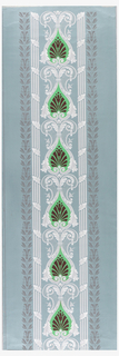 Vertical series of upside down heart-shaped medallions, brown and bright green, alternating with white foliate and scroll motif. To right and left, vertical moldings bound at intervals with a leaf. Printed in colors on polished or satin ground.