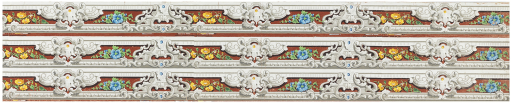 Scrollwork sparingly embellished with blue and yellow beads. Blue and yellow flowers with green leaves are found in the openings of the grisaille framework. (A fourth length may have been clipped from this width).
