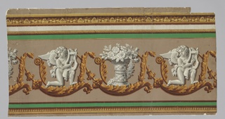 Long horizontal rectangle. Brown and yellow moldings along upper and lower edges. Major motif on brown ground is acanthus rinceau. This enframes alternately two grisaille motifs: a kneeling winged boy with harp, and a basket of flowers. Green horizontal bands.