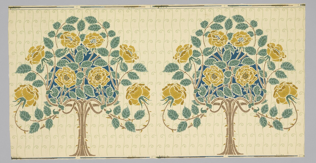 "On unpainted ground an all-over pattern of wavy lines and small spirals in pale green; superimposed a conventionaled, symmetrical tree with yellow roses, bluish-green foliage and bright blue heart-shaped filling. Two repeats. Forms part of the ""Stamford"" decoration."