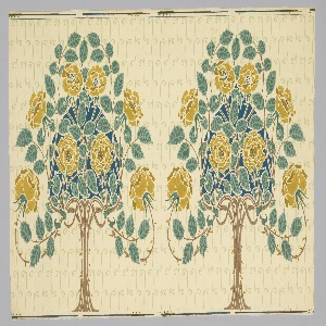 """On unpainted ground an all-over pattern of wavy lines and small spirals in pale green; superimposed a conventionaled, symmetrical tree with yellow roses, bluish-green foliage and bright blue heart-shaped filling. Two repeats. Forms part of the """"Stamford"""" decoration."""