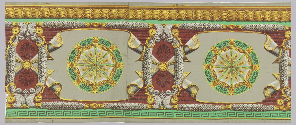 Gray and yellow floral swags frame gray and yellow sheet with vine decoration on ends held by rosettes. In center of cloth is a large green, yellow and gray medallion with radiating spokes ending in Grecian palmettes. At one side, a yellow and brown laurel border, at the other, a Greek key pattern. Printed on red and green ground.
